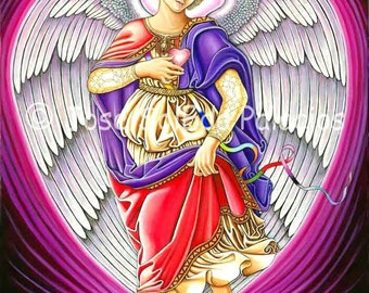 Archangel Chamuel 11x14 print on canvas by Jose SolEda