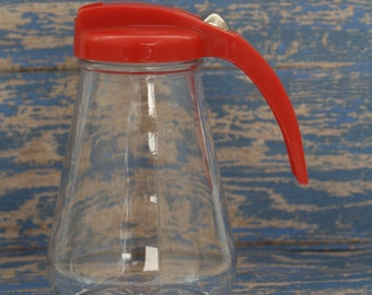 Federal Red Lid Syrup Pitcher, Honey Dispenser, Molasses
