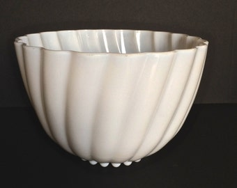 Vintage 1950s White Milk Glass Punch Bowl. Swirled Texture and Scalloped Edge.