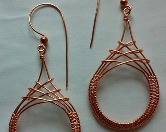 Criss Cross Earrings in Copper, Wire Wrapped Earrings, Wire Wrapped Jewelry, Copper Jewelry, Made to Order, Drop Earrings, Gift for Her