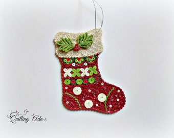 Christmas stocking decoration - quilling stocking – ornament tree – paper ornament