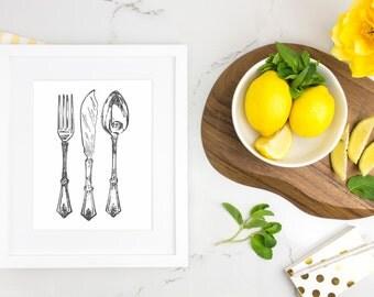 Kitchen Art Print, Kitchen Silverware Art, Kitchen Wall Art - Utensil Art Print, Fork Knife Spoon Kitchen Printable, Instant Download