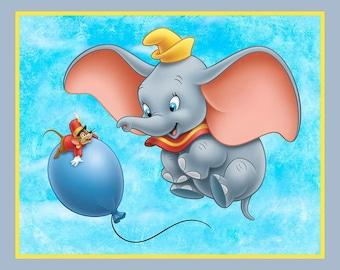 Dumbo Circus Panel Blue cotton fabric