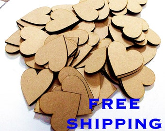 BUMPER Pack of 100 HEARTS 30mm from 3mm MDF