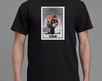 John Carpenter's The Thing inspired horror T Shirt, Minimalist Vector Art designed by Cult.Graphics. Available in Black or White