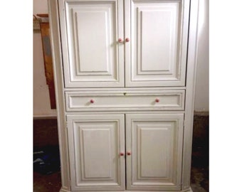 Antique White French Distressed Armoire, dresser, nursery