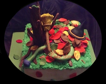 Halloween Fondant Cake Topper Kit, Fondant Witch, Handmade Edible Fall leaves, Autumn Tree, Halloween Cake, Witch Cake, Fall Cake Toppers