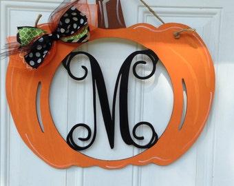 Pumpkin door hanger, monogram pumpkin door hanger, monogram door hanger, fall door hanger, fall, halloween door hanger, halloween