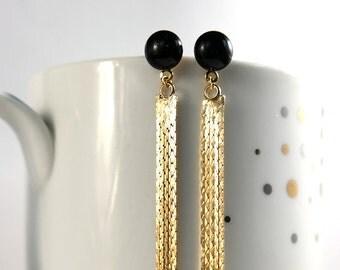 Black gold long earrings, 16k gold filled tassel earrings, black tassel earrings, long earrings, tassel earring - Surgical steel studss