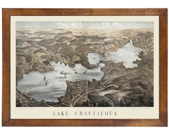 Lake Chautauqua, NY 1885 Bird's Eye View; 24x36 Print from a Vintage Lithograph
