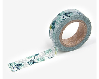 "Washi Tape - Masking Tape - Tropical Plants - 5/8"" x 32' - 15mm x 10m"