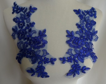One Pair Royal Blue Applique Embroidered Lace Applique for Bridal, Gowns, Wedding Dress, Sewing