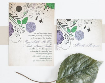 French Wedding Invitation, French Country Wedding Invitation, French Floral Invitation, Baroque Wedding Invitation, Vintage Invitation