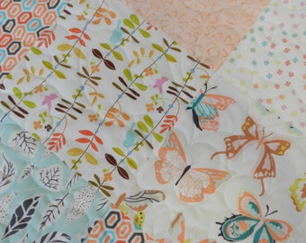 Butterfly Quilt, Aqua pink coral, Baby quilt, Crib bedding, modern baby quilt, nursery bedding