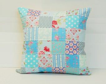 Blue Patchwork Pillow Cover, Shabby Chic Pillow Cover, Quilted Cushion Cover, Quilted Pillow, Fits 18 inch insert, 18 x18