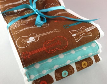 Burp cloths, guitar, records, music, country, folk, baby shower