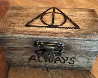 Harry Potter, Deathly Hallows inspired wooden chest, small wooden chest, keepsake, trinket box, jewellery box, always.