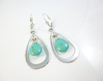 Turquoise earrings, Sterling Silver Dangle Earrings, Hoop Earrings