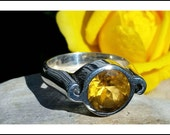 Chunky Hipster Bohemian Faceted Large Citrine and Sterling Silver Ring. UNUSED VINTAGE STOCK. Estate style. Size: 6 November Birthstone