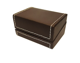 Leather Ring Box, Jewelry Box made from Leather and Felt for Engagement Rings
