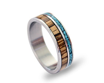Titanium Ring, Turquoise Ring, Wood Ring, Wooden Ring with Turquoise, Mens Ring, Womens Rings, Mens Band, Wooden Band