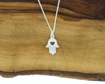 925 Sterling Silver Hamsa Heart Hand Necklace