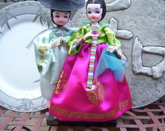 Korean Dolls,Asian Dolls with Base, Aqua,Pink and Magenta