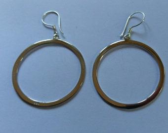 Handmade Solid 925 Sterling Silver flat hoop earring.