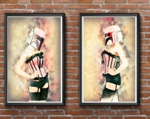 Sexy starwars pinup girls. Boba fett cosplay watercolor art, set of 2