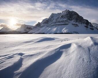 Windswept, Bow Lake, Banff National Park, Alberta, Canada, Canadian Rockies, Snow, Mountain, Sun - Travel Photography, Print, Wall Art