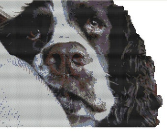 Cross stitch kit- springer spaniel 32 cm x 25 cm