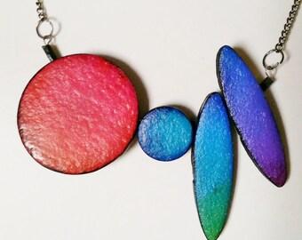 """Polymer clay, small """"Rainbow"""" necklace, unique, handmade, original design"""