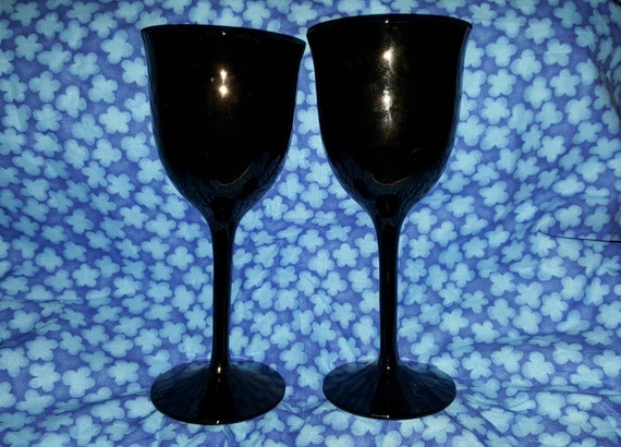 A Set Of Tall Long Stem Black Amethyst Wine Goblets Wine
