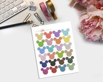 Glitter Mickey Heads Planner Stickers