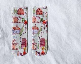 VILLAGE printed socks - Hand painted design