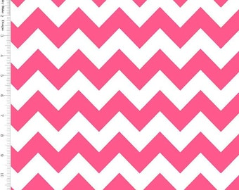 Neon Pink Chevron Fabric, Riley Blake C320-101 Medium Chevron, Hot Pink and White Chevron, Pink Cotton Chevron