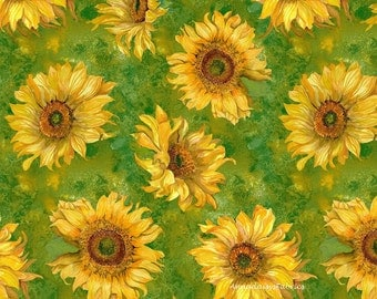 Sunflower Quilt Fabric, Slice of Sunshine, Wilmington Prints 79255-755, Yellow Sunflower Fabric, Sunflower Quilt Fabric, Yellow Floral