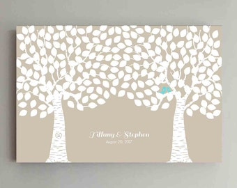 250 Guest Wedding Guest Book Wood Two Double Tree Wedding Guestbook Alternative Guestbook Poster Wedding Guestbook Poster - Beige Kraft