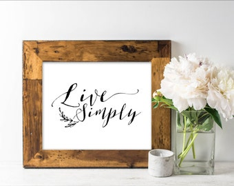 Live simply print etsy for Live simply wall art