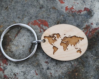 World map keychain etsy world map keychain gumiabroncs Image collections