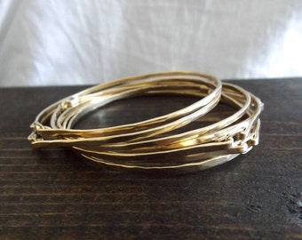 Hammered Gold Bangle Bracelet