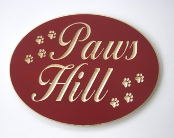 Customized Large Wood Sign with Carved Pawprints and Personalized Text