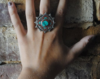 Turquoise and Carnelian Statement Ring