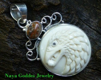 Sterling Silver Animal Totem Eagle Animal Cameo Pendant with Jasper BP-187