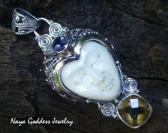 Silver and Mixed Gemstone Goddess Pendant NG-1270