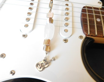 Guitar Purse Charm - Zipper Pull - Bag Accessory - Guitar Zipper Charm