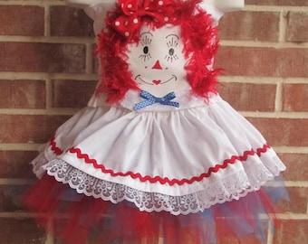 Boutique custom handmade pageant girls Raggedy Ann Costume, Raggedy Ann tutu set, Raggedy Ann