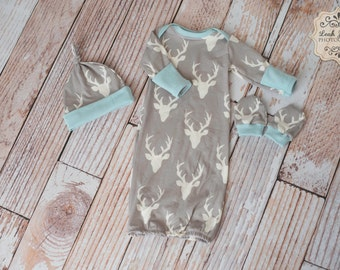 Woodland Deer Baby Gown, Mitts, and Hat Baby Shower Gift/ Hunting Baby Gown/ Deer/Buck Horns Blue Trim Baby Gown