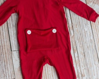 Christmas Eve or Day Unisex, girls, babies, boys Long John Pajamas with Bottom Flap (NO NAME)