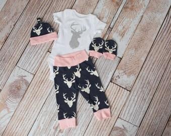 Newborn Coming Home Girl Baby Deer Antlers/Horns Bodysuit, Hat, Scratch Mittens Set with Navy and Pink+ Glitter Deer Antler Bodysuit